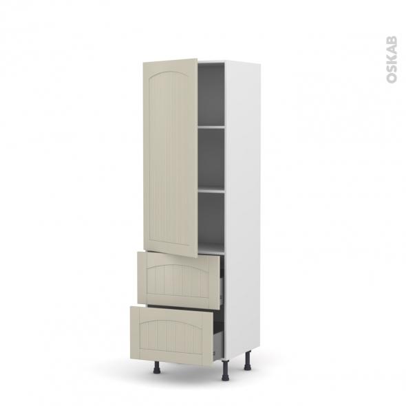 SILEN Argile - Armoire étagère N°2757  - 2 tiroirs casserolier - L60xH195xP58