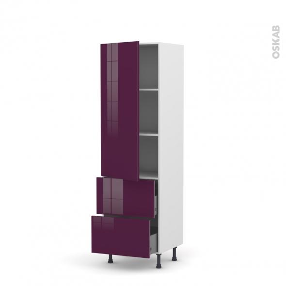 Colonne de cuisine N°2757 - Armoire étagère - KERIA Aubergine - 2 tiroirs casserolier - L60 x H195 x P58 cm