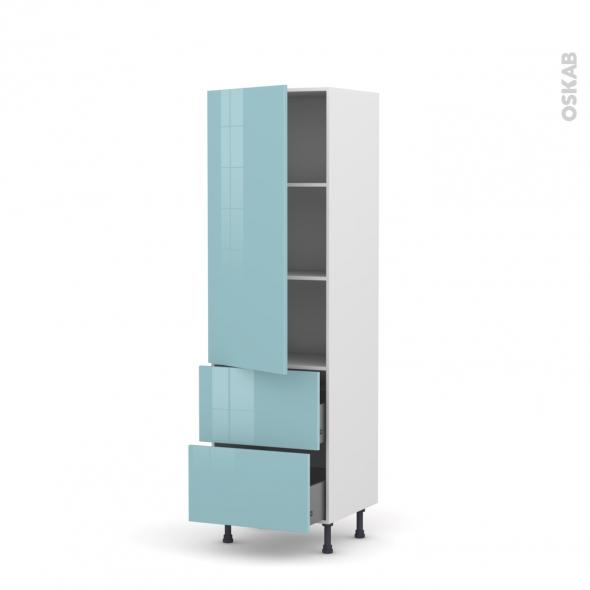 Colonne de cuisine N°2757 - Armoire étagère - KERIA Bleu - 2 tiroirs casserolier - L60 x H195 x P58 cm