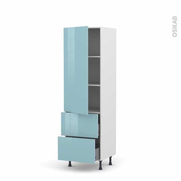 KERIA Bleu - Armoire étagère N°2757  - 2 tiroirs casserolier - L60xH195xP58
