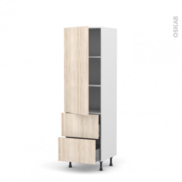 Colonne de cuisine N°2757 - Armoire étagère - IKORO Chêne clair - 2 tiroirs casserolier - L60 x H195 x P58 cm