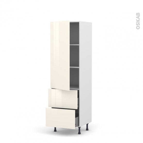 Colonne de cuisine N°2757 - Armoire étagère - KERIA Ivoire - 2 tiroirs casserolier - L60 x H195 x P58 cm