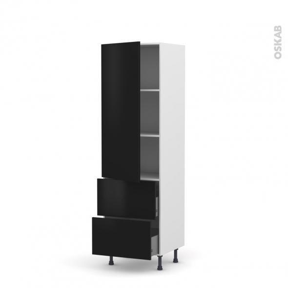 Colonne de cuisine N°2757 - Armoire étagère - GINKO Noir - 2 tiroirs casserolier - L60 x H195 x P58 cm
