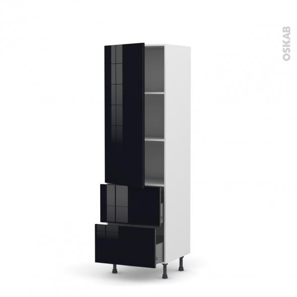 KERIA Noir - Armoire étagère N°2757  - 2 tiroirs casserolier - L60xH195xP58