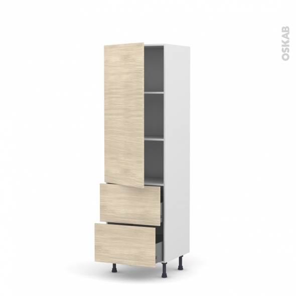STILO Noyer Blanchi - Armoire étagère N°2757  - 2 tiroirs casserolier - L60xH195xP58