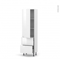Colonne de cuisine N°2757 - Armoire étagère - STECIA Blanc - 2 casseroliers - L60 x H195 x P37 cm