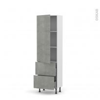 Colonne de cuisine N°2757 - Armoire étagère - FAKTO Béton - 2 casseroliers - L60 x H195 x P37 cm