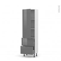 Colonne de cuisine N°2757 - Armoire étagère - STECIA Gris - 2 casseroliers - L60 x H195 x P37 cm