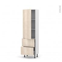 Colonne de cuisine N°2757 - Armoire étagère - IKORO Chêne clair - 2 casseroliers - L60 x H195 x P37 cm