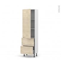 Colonne de cuisine N°2757 - Armoire étagère - STILO Noyer Blanchi - 2 casseroliers - L60 x H195 x P37 cm