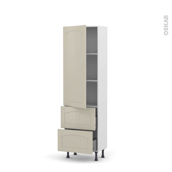 SILEN Argile - Armoire étagère N°2757   - Prof.37  2 casseroliers - L60xH195xP37