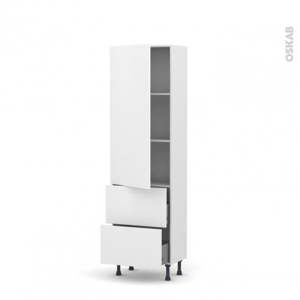 GINKO Blanc - Armoire étagère N°2757   - Prof.37  2 casseroliers - L60xH195xP37
