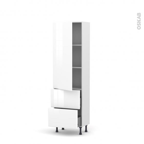 Colonne de cuisine N°2757 - Armoire étagère - IRIS Blanc - 2 casseroliers - L60 x H195 x P37 cm