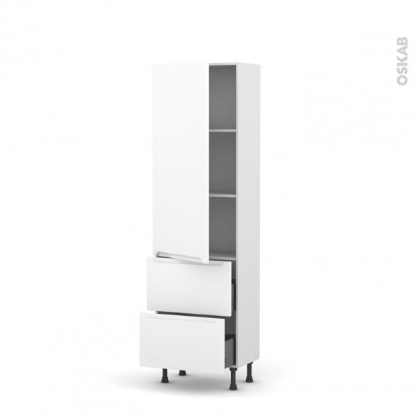 Colonne de cuisine N°2757 - Armoire étagère - PIMA Blanc - 2 casseroliers - L60 x H195 x P37 cm