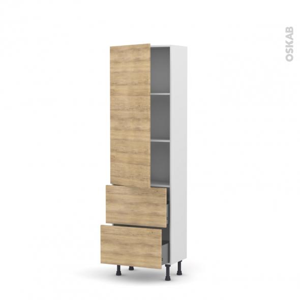 Colonne de cuisine N°2757 - Armoire étagère - HOSTA Chêne naturel - 2 casseroliers - L60 x H195 x P37 cm