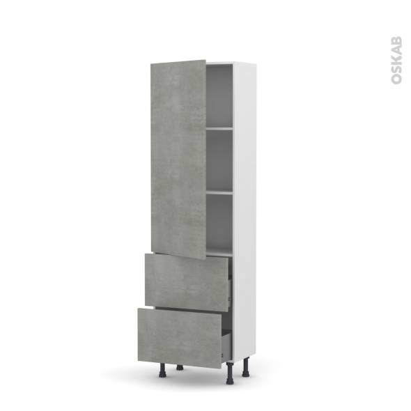 FAKTO Béton - Armoire étagère N°2757   - Prof.37  2 casseroliers - L60xH195xP37