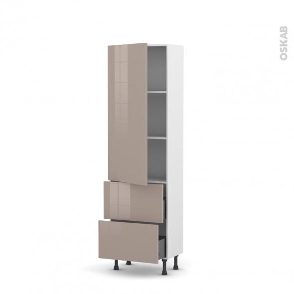 Colonne de cuisine N°2757 - Armoire étagère - KERIA Moka - 2 casseroliers - L60 x H195 x P37 cm