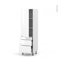 Colonne de cuisine N°2758 - Armoire étagère - IRIS Blanc - 3 tiroirs casserolier - L60 x H195 x P58 cm