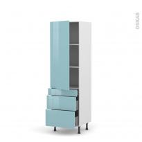 Colonne de cuisine N°2758 - Armoire étagère - KERIA Bleu - 3 tiroirs casserolier - L60 x H195 x P58 cm