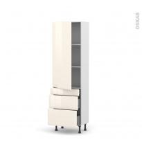 IRIS Ivoire - Armoire étagère N°2758  - 3 tiroirs casserolier - L60xH195xP58