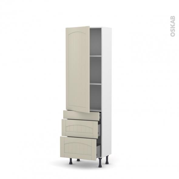 SILEN Argile - Armoire étagère N°2758  - 3 tiroirs casserolier - L60xH195xP58