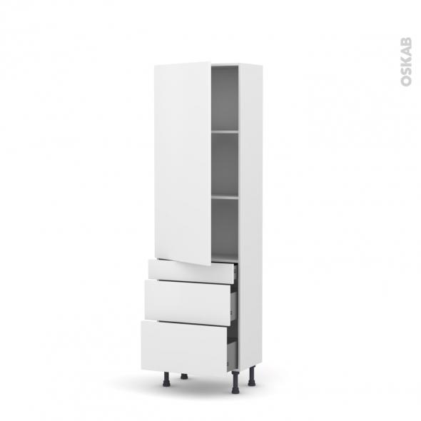 Colonne de cuisine N°2758 - Armoire étagère - GINKO Blanc - 3 tiroirs casserolier - L60 x H195 x P58 cm