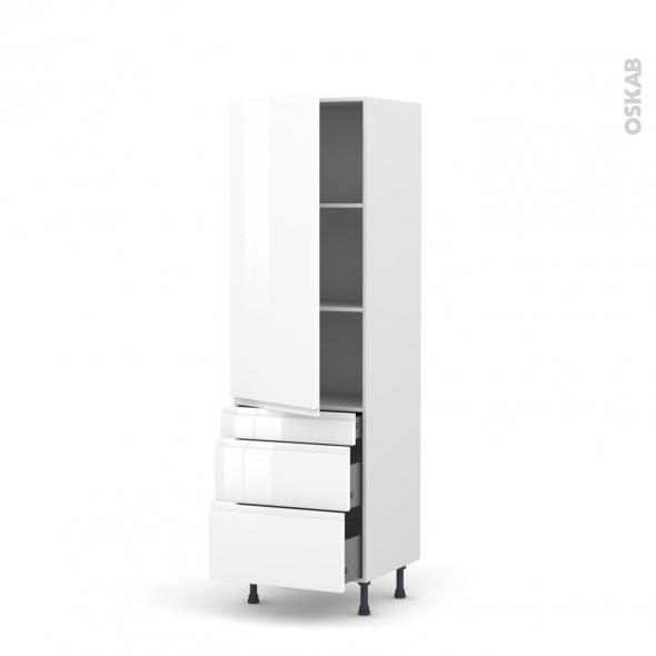 IPOMA Blanc - Armoire étagère N°2758  - 3 tiroirs casserolier - L60xH195xP58