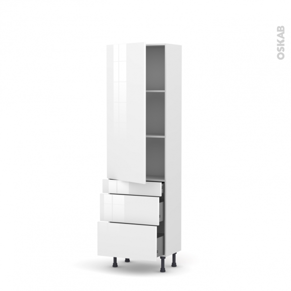 STECIA Blanc - Armoire étagère N°2758  - 3 tiroirs casserolier - L60xH195xP58