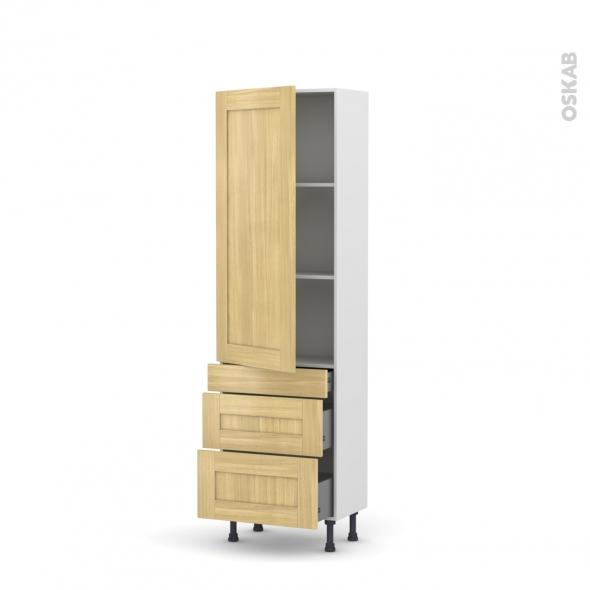 BASILIT Bois Brut - Armoire étagère N°2758  - 3 tiroirs casserolier - L60xH195xP58