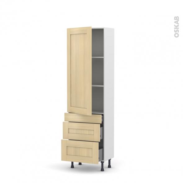 BASILIT Bois Vernis - Armoire étagère N°2758  - 3 tiroirs casserolier - L60xH195xP58