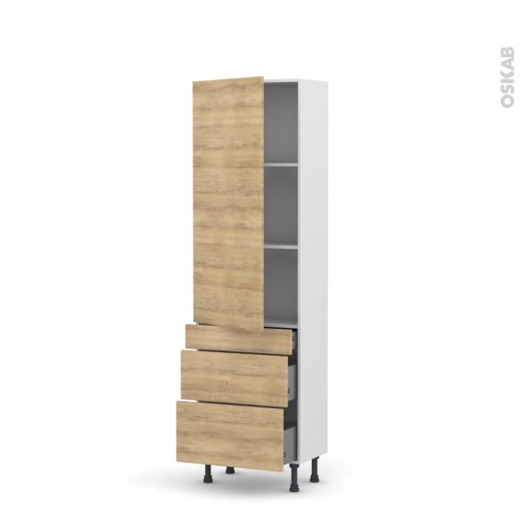 Colonne de cuisine N°2758 - Armoire étagère - HOSTA Chêne naturel - 3 tiroirs casserolier - L60 x H195 x P58 cm