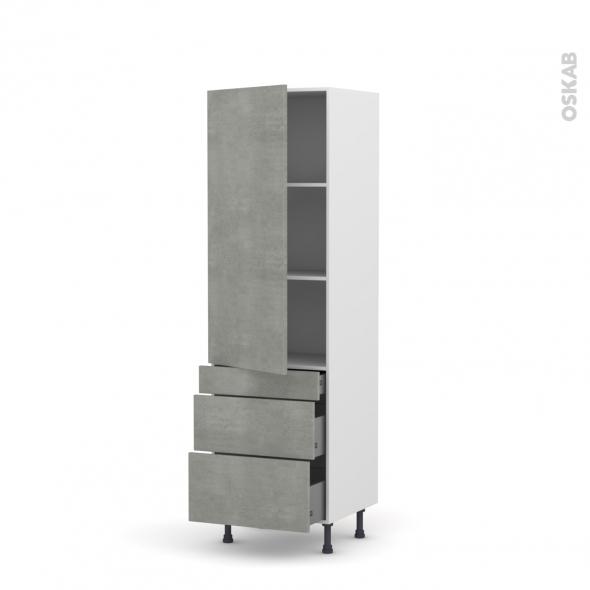 Colonne de cuisine N°2758 - Armoire étagère - FAKTO Béton - 3 tiroirs casserolier - L60 x H195 x P58 cm
