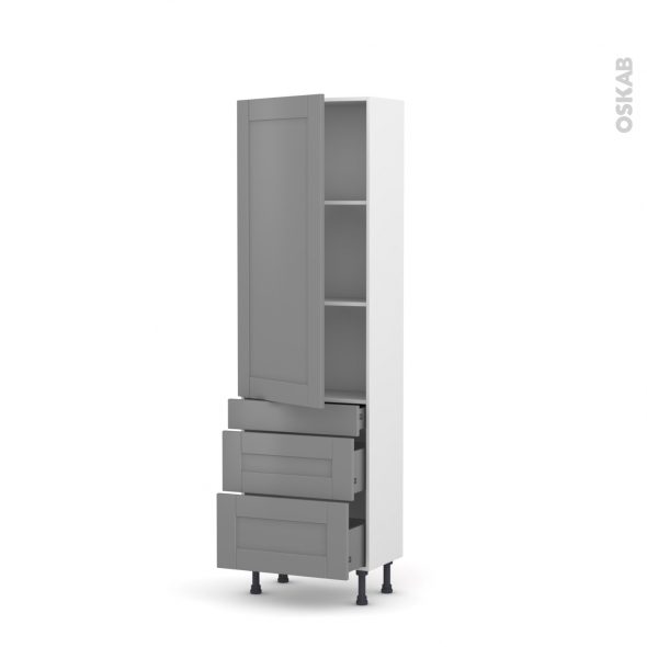 Colonne de cuisine N°2758 - Armoire étagère - FILIPEN Gris - 3 tiroirs casserolier - L60 x H195 x P58 cm