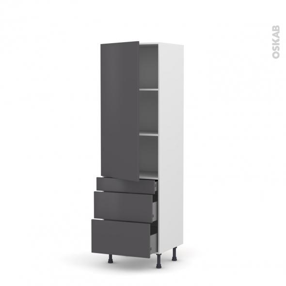 Colonne de cuisine N°2758 - Armoire étagère - GINKO Gris - 3 tiroirs casserolier - L60 x H195 x P58 cm