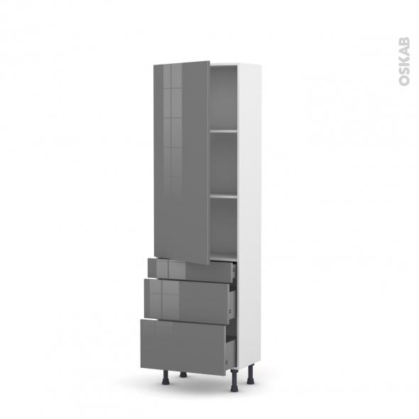 Colonne de cuisine N°2758 - Armoire étagère - STECIA Gris - 3 tiroirs casserolier - L60 x H195 x P58 cm