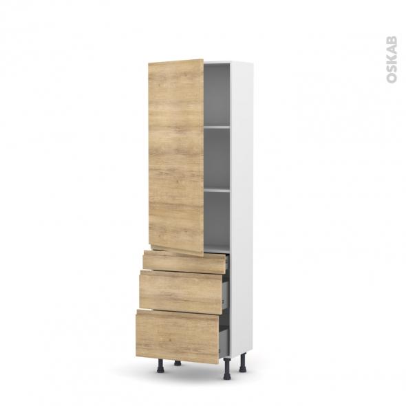 Colonne de cuisine N°2758 - Armoire étagère - IPOMA Chêne naturel - 3 tiroirs casserolier - L60 x H195 x P58 cm
