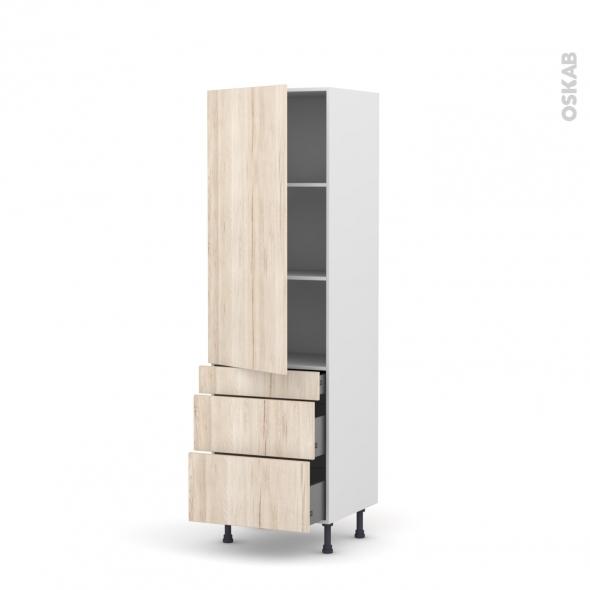 Colonne de cuisine N°2758 - Armoire étagère - IKORO Chêne clair - 3 tiroirs casserolier - L60 x H195 x P58 cm