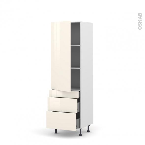 KERIA Ivoire - Armoire étagère N°2758  - 3 tiroirs casserolier - L60xH195xP58
