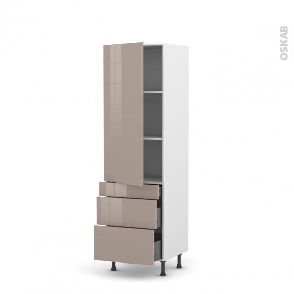 Colonne de cuisine N°2758 - Armoire étagère - KERIA Moka - 3 tiroirs casserolier - L60 x H195 x P58 cm
