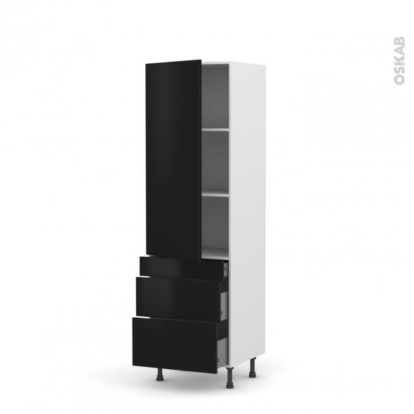 Colonne de cuisine N°2758 - Armoire étagère - GINKO Noir - 3 tiroirs casserolier - L60 x H195 x P58 cm