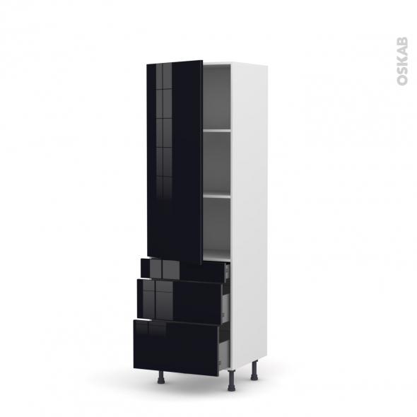 KERIA Noir - Armoire étagère N°2758  - 3 tiroirs casserolier - L60xH195xP58