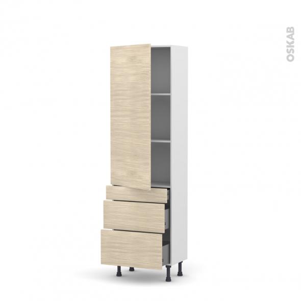 Colonne de cuisine N°2758 - Armoire étagère - STILO Noyer Blanchi - 3 tiroirs casserolier - L60 x H195 x P58 cm
