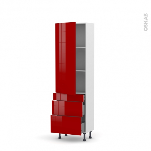 Colonne de cuisine N°2758 - Armoire étagère - STECIA Rouge - 3 tiroirs casserolier - L60 x H195 x P58 cm