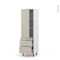SILEN Argile - Armoire étagère N°2758  - Prof.37  3 tiroirs casserolier - L60xH195xP37