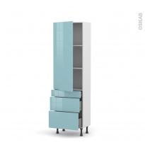 Colonne de cuisine N°2758 - Armoire étagère - KERIA Bleu - 3 tiroirs casserolier - L60 x H195 x P37 cm