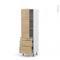 Colonne de cuisine N°2758 - Armoire étagère - HOSTA Chêne naturel - 3 tiroirs casserolier - L60 x H195 x P37 cm