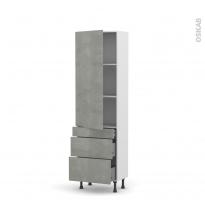 Colonne de cuisine N°2758 - Armoire étagère - FAKTO Béton - 3 tiroirs casserolier - L60 x H195 x P37 cm