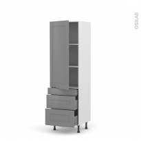 Colonne de cuisine N°2758 - Armoire étagère - FILIPEN Gris - 3 tiroirs casserolier - L60 x H195 x P37 cm