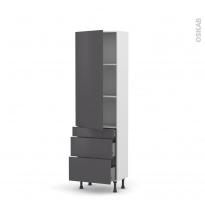 Colonne de cuisine N°2758 - Armoire étagère - GINKO Gris - 3 tiroirs casserolier - L60 x H195 x P37 cm