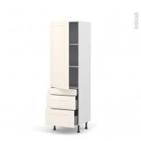 Colonne de cuisine N°2758 - Armoire étagère - FILIPEN Ivoire - 3 tiroirs casserolier - L60 x H195 x P37 cm